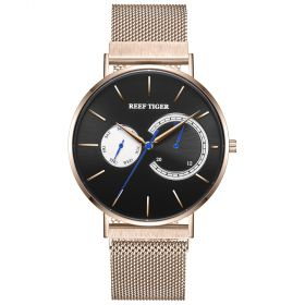 Seattle Sea Oslo Black Dial Rose Gold Stainless Steel Mens Quartz Watch