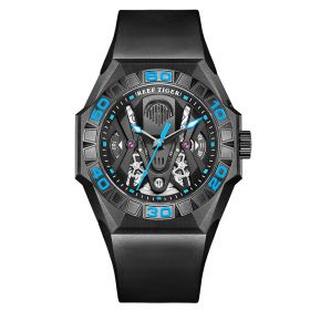 Aurora Black Shark Limited Edition All Black Automatic Mechanical Skeleton Rubber Strap Watch RGA6912-BBLR