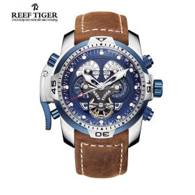 Aurora Concept  Steel Case Blue Complicated Dial Brown Leather Watch