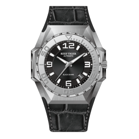 Reef Tiger/RT Men Sports Watches Steel Automatic Mechanical Watch Military Watches Leather Strap RGA6903-YBB