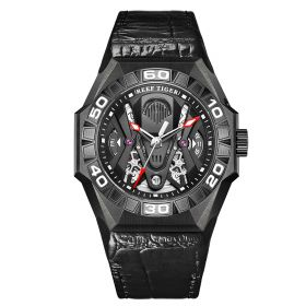 Aurora Black Shark COMMON All Black Automatic Mechanical Skeleton Leather Watch RGA6912-B