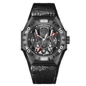 Aurora Black Shark COMMON All Black Automatic Mechanical Skeleton Leather Watch RGA6912-BBBL