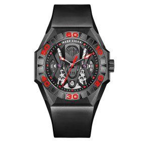Aurora Black Shark Limited Edition All Black Automatic Mechanical Skeleton Rubber Strap Watch RGA6912-BBRR