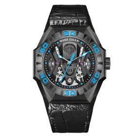 Aurora Black Shark Limited Edition All Black Automatic Mechanical Skeleton Leather Strap Watch RGA6912-BBLL