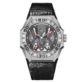Aurora Black Shark COMMON Steel Automatic Mechanical Skeleton Leather Watch RGA6912-YBBL