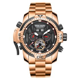 Aurora Transformer Rose Gold Automatic Complicated Watches Bracelet Strap RGA3532-PP