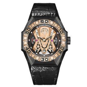 Aurora Black Shark COMMON All Black Automatic Mechanical Skeleton Leather Watch RGA6912-TPBL