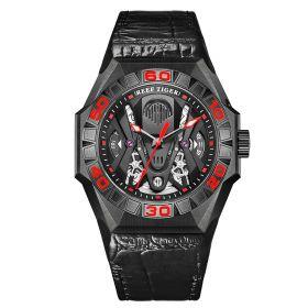 Aurora Black Shark Limited Edition All Black Automatic Mechanical Skeleton Leather Strap Watch GA6912-BBRL