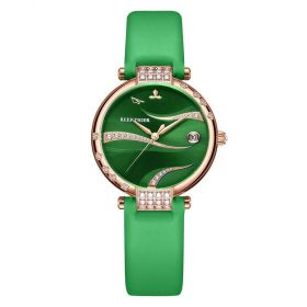 Love Saturn Rose Gold Green Dial Leather Strap Watches RGA1589-PEE