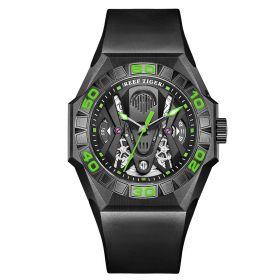 Aurora Black Shark Limited Edition All Black Automatic Mechanical Skeleton Rubber Strap WatchRGA6912-BBNR