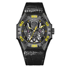 Aurora Black Shark Limited Edition All Black Automatic Mechanical Skeleton Leather Strap Watch RGA6912-BBGL