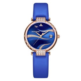 Love Saturn Rose Gold Blue Dial Leather Strap Watches RGA1589-PLL