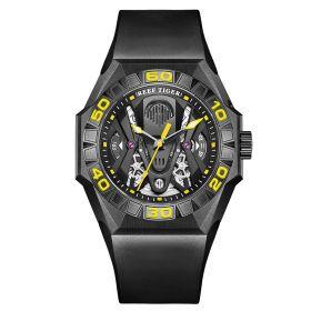 Aurora Black Shark Limited Edition All Black Automatic Mechanical Skeleton Rubber Strap Watch RGA6912-BBGR