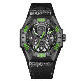Aurora Black Shark Limited Edition All Black Automatic Mechanical Skeleton Leather Strap Watch RGA6912-BBNL