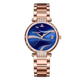 Love Saturn Rose Gold Case Stainless Steel Blue Dial Watches RGA1589-PLLS