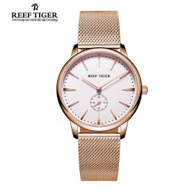 Classic Vintage Couple Watch White Dial Full Rose Gold For Men