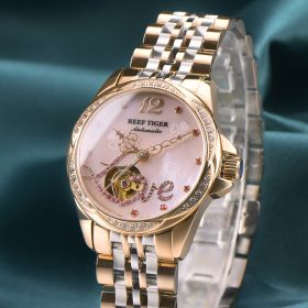 Love Double Heart & Flower Luxury Flower Diamond Women Rose Gold Bracelet Automatic RGA1583-P