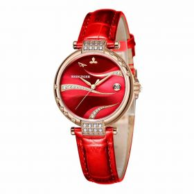 Love Saturn Rose Gold  Case Red Dial Leather Strap Watches RGA1589-PRRC
