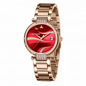 Love Saturn Rose Gold Case Stainless Steel Red Dial Watches RGA1589-PRRS