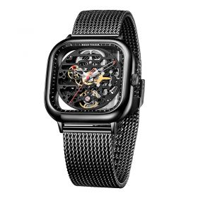 Limited Edition M Series Skeleton Dial Square Watch Waterproof All Black dial Automatic Mechanical watches RGA9075
