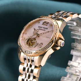 Love Double Heart & Flower Luxury Women Rose Gold Bracelet Flower Diamond Automatic Watch RGA1583-PPP