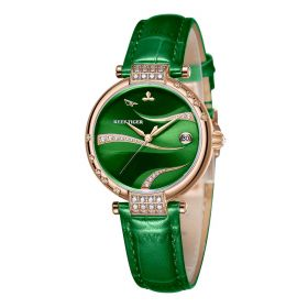 Love Saturn Rose Gold Case Green Dial Leather Strap Watches RGA1589-PEEC