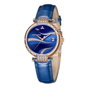 Love Saturn Rose Gold Case Blue Dial Leather Strap Watches RGA1589-PLLC