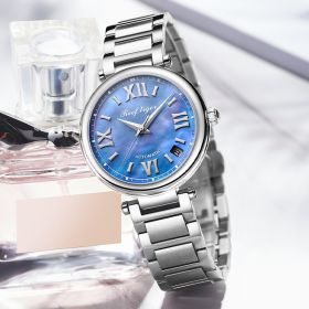 Love Luthier Steel Blue Dial Automatic Date Ladies Watches RGA1595-YLY