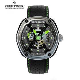 Aurora Gaia's Light RT-1 Skeleton Dial Green Night Luminescent Black Leather Men's Watch