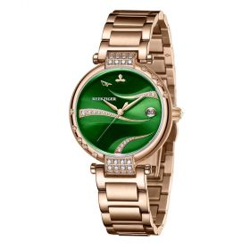 Love Saturn Rose Gold Case Stainless Steel Green Dial Watches RGA1589-PEES