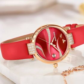 Love Saturn Rose Gold Red Dial Leather Strap Watches RGA1589-PRR