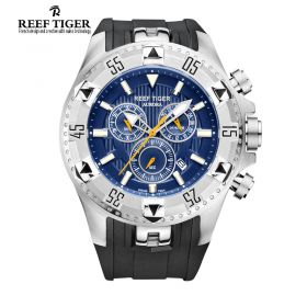 Aurora Hercules Chrono Blue Dial Black Rubber Steel Case Men's Watch