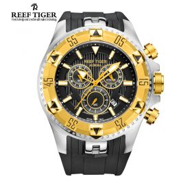 Aurora Hercules Chrono Black Dial Black Rubber Yellow Gold Bezel Men's Watch