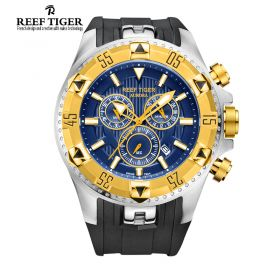 Aurora Hercules Chrono Blue Dial Black Rubber Yellow Gold Bezel Men's Watch