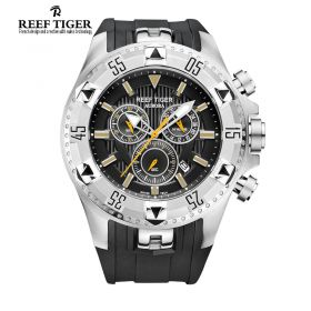 Aurora Hercules Chrono Black Dial Black Rubber Steel Case Men's Watch