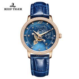 Love Angel Blue MOP Dial Diamonds Bezel Blue Leather Rose Gold Watch