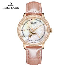 Love Angel Pink MOP Dial Diamonds Bezel Pink Leather Rose Gold Watch