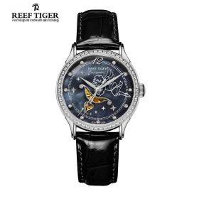 Love Angel Black MOP Dial Diamonds Bezel Black Leather Stainless Steel Watch