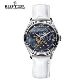 Love Angel Black MOP Dial White Leather Strap Stainless Steel Watch