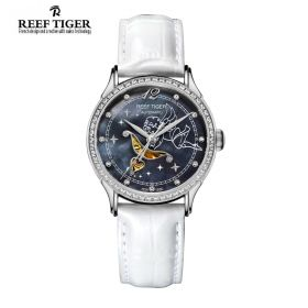 Love Angel Black MOP Dial Diamonds Bezel White Leather Stainless Steel Watch