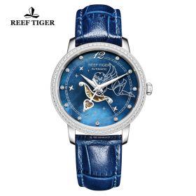 Love Angel Blue MOP Dial Diamonds Bezel Blue Leather Stainless Steel Watch