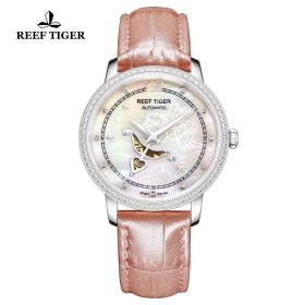 Love Angel Pink MOP Dial Diamonds Bezel Pink Leather Stainless Steel Watch