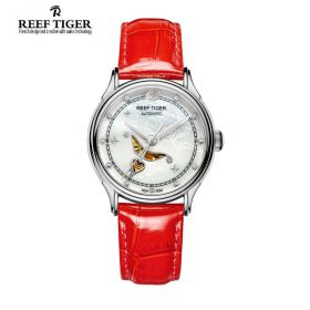 Love Angel White MOP Dial Red Leather Strap Stainless Steel Watch