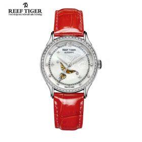 Love Angel White MOP Dial Diamonds Bezel Red Leather Steel Watch