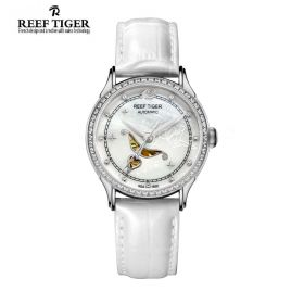 Love Angel White MOP Dial Diamonds Bezel White Leather Steel Watch