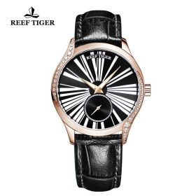 Love Highness Black Dial Roman Numeral Markers Rose Gold Watch