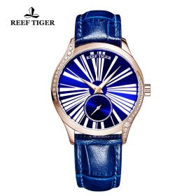 Love Highness Blue Dial Roman Numeral Markers Rose Gold Watch