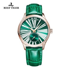 Love Highness Green Dial Roman Numeral Markers Rose Gold Watch