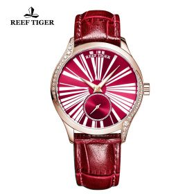 Love Highness Red Dial Roman Numeral Markers Rose Gold Watch