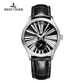 Love Highness Black Dial Roman Numeral Markers stainless steel Watch